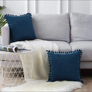 18x18 velvet, navy, Pom Pom pillow covers